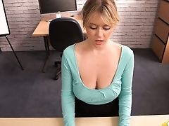 Bitchy Assistant Brook Little Takes Out Her Big Saggy Tits And Touches Herself