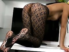 Dark Haired Exotic Ell Storm Spends Time Playing With Herself
