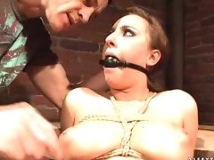 Dark Haired With Delicious Bosoms Gets Her Mouth Opened Up By Bulky Erect Schlong Of Horny Fuck Friend