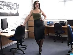 Whorish Assistant Charlie Rose Strips And Dances In The Office