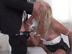 Youthful And Marvelous Manager And His Assistant Fuck Pretty Long Legged Blonde In Both Crevices