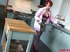 Perverted Cougar Sandy-haired Fucks A Bottle Of Wine Then A Faux-cock