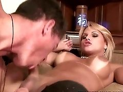 Blonde Shemale Gets Her Cock Sucked On By A Stud