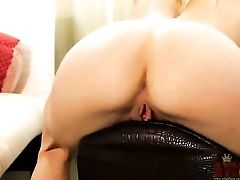 Sexy Blonde Bella Leans All Alone And Playing With Some Playthings