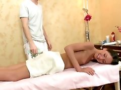 Skinny Teenage Juno Hammered Bad In Her Snatch By Horny Masseuse