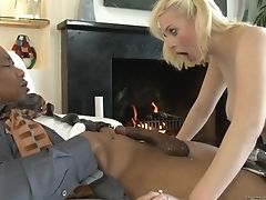 Nubile Lets Horny Dude Shove His Pink Cigar In Her Gash In Interracial Pornography Act
