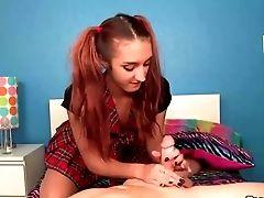 Naughty Redhead Teen Handjob