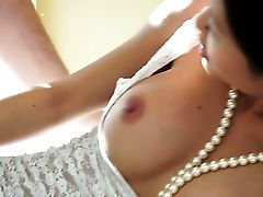Brown-haired Bombshell With Giant Knockers Lets Man Insert His Fuckpole In Her Mouth